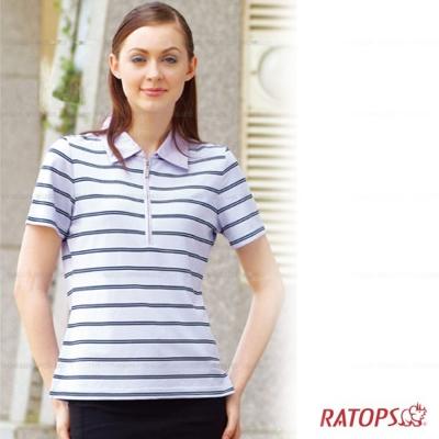【瑞多仕】女款 平織布領POLO衫_DB8193 淺粉紫/暗藍 V1