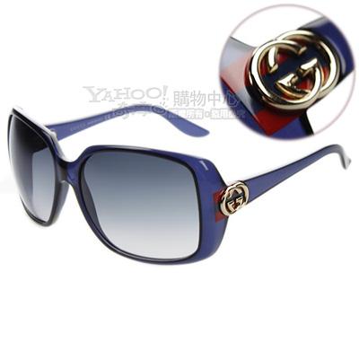 GUCCI-時尚太陽眼鏡(透明藍色/琥珀色/黑色)