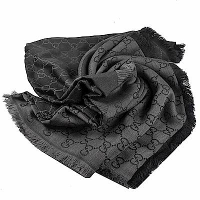 GUCCI 經典G LOGO披肩式圍巾/大方巾(深灰)