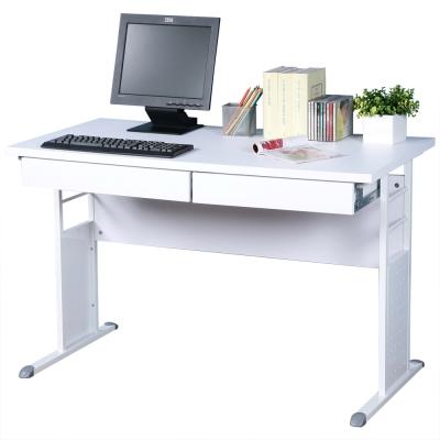 Homelike 巧思120x60辦公桌(附二抽屜)-白桌面/亮白桌腳