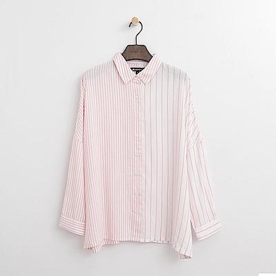 Hang Ten - 女裝 - 條紋傘擺襯衫-粉紅色
