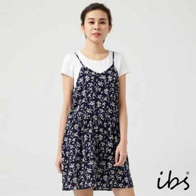 ibs美休時尚印花俏麗短洋裝-女-藍