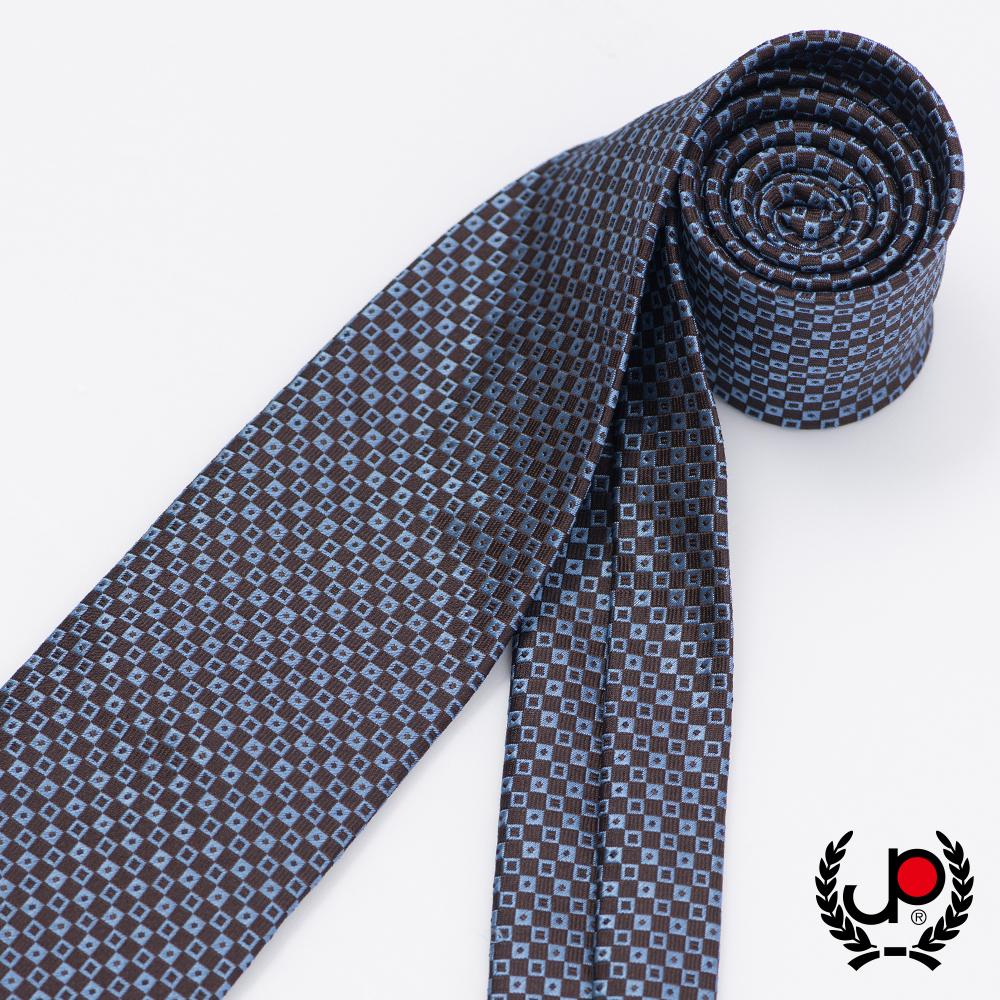 極品西服 時尚Teflon防潑水100%絲格紋領帶_ 咖啡藍格(YT5037)