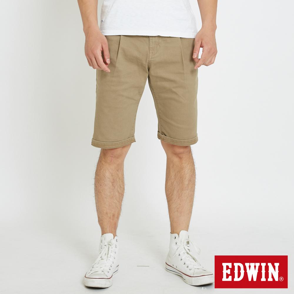 EDWIN 休閒打摺短褲-男-褐色