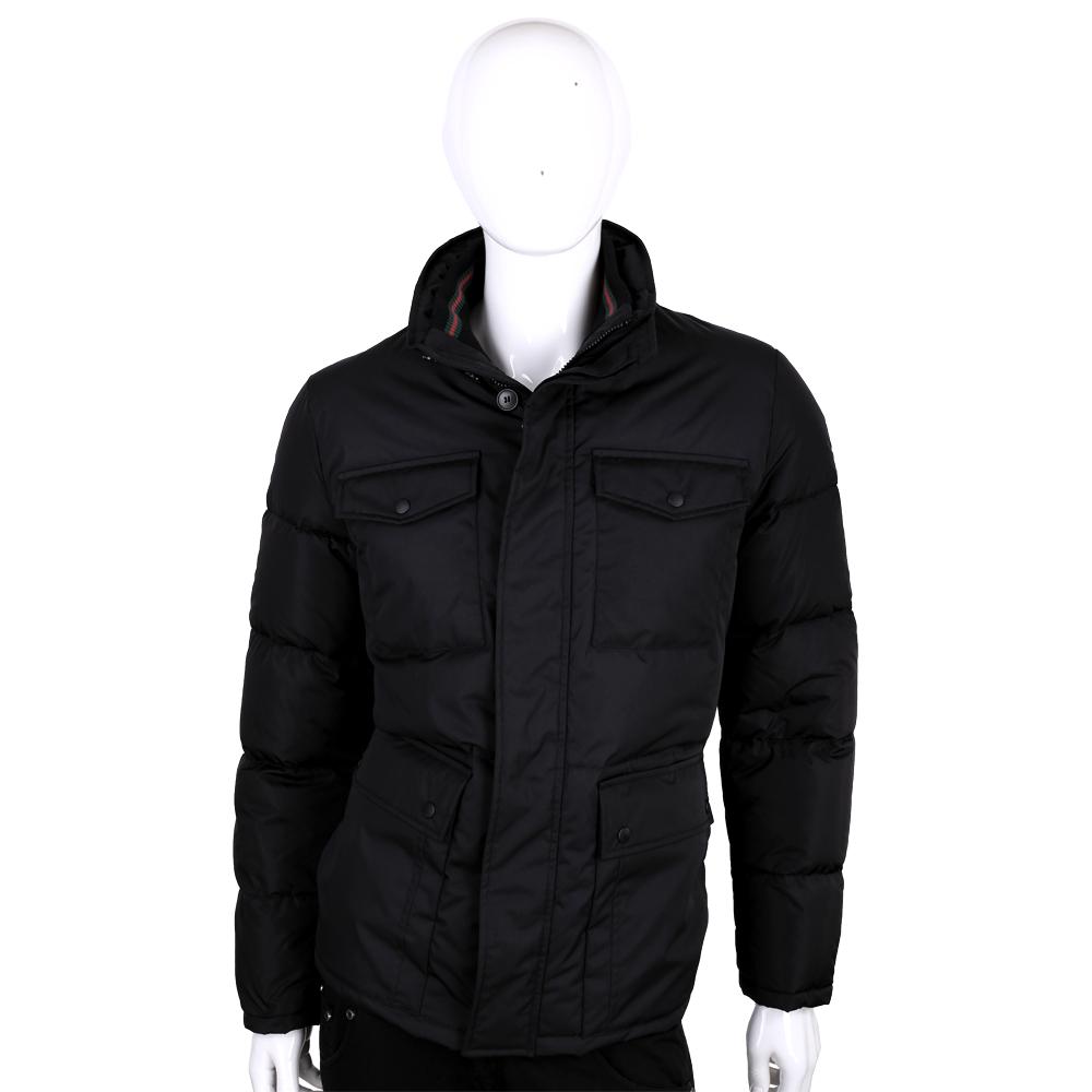 GUCCI 黑色口袋設計立領羽絨外套(男款)