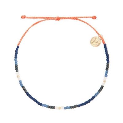 Pura Vida 美國手工 BLUEPRINT 小彩珠系列 橘色臘線可調式手鍊防水手繩