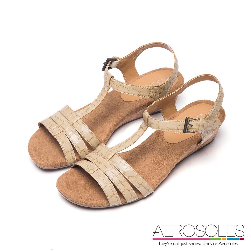 AEROSOLES 原色皮革大理石紋小坡跟涼鞋~優雅象牙