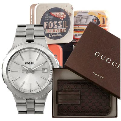 GUCCI iPhone 4/4S手機套+FOSSIL時尚腕錶