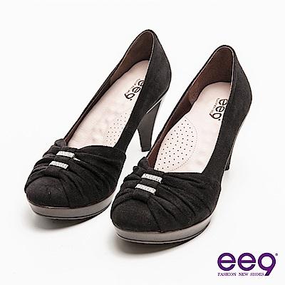 ee9心滿益足-氣質仕女自然抓皺華麗滿鑽高跟鞋-黑色