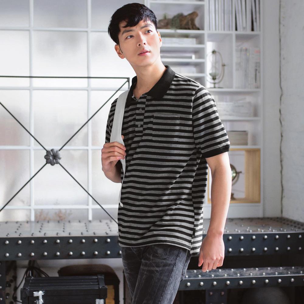滿版配色橫條紋POLO衫-OB大尺碼