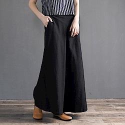 La Belleza腰鬆緊打摺闊腿長褲九分寬褲裙
