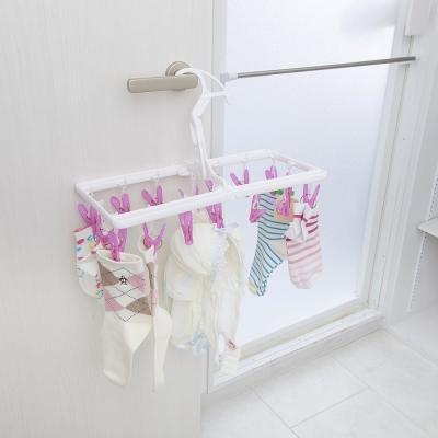 【促銷】日本AISEN私密機能16夾粉紅曬衣架