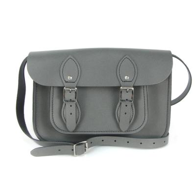 The Leather Satchel 英國手工牛皮劍橋包 肩背 側背包 紳士灰 11吋
