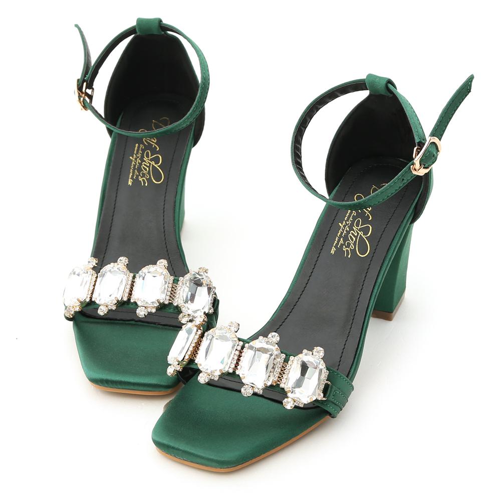 D+AF 奢鑽名媛.華麗寶石鑽飾高跟涼鞋*綠