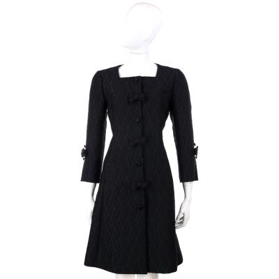 DOLCE & GABBANA 黑色蕾絲蝴蝶結飾方領大衣