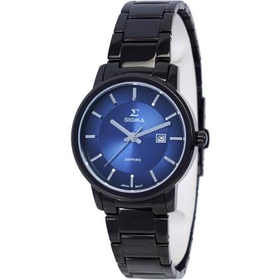 SIGMA 質感簡約藍寶石時尚情人女錶-藍X黑/30mm