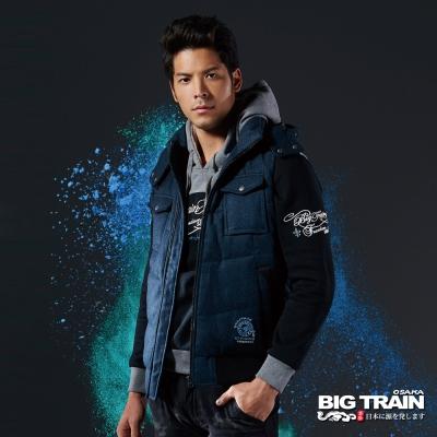 BIG-TRAIN-仿花呢絲棉背心-男-深藍