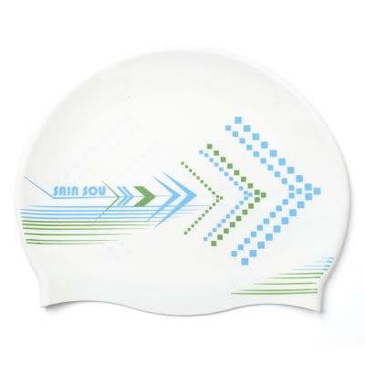 泳裝 泳帽 勇往直前白色矽膠泳帽 聖手牌
