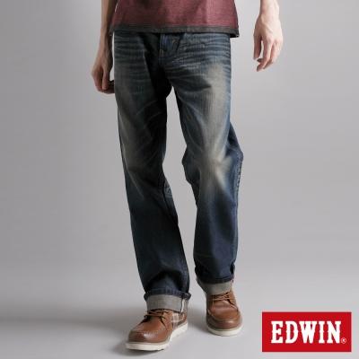 EDWIN陽剛氣度-XV寬直筒牛仔褲-男款-中古藍