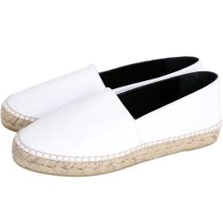 KENZO Leather Tiger 虎頭皮革草編平底鞋(白色/薄版)