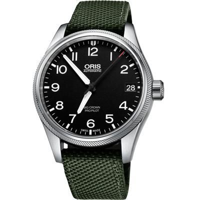 Oris Big Crown ProPilot 日期顯示機械腕錶-黑x軍綠錶帶/41mm