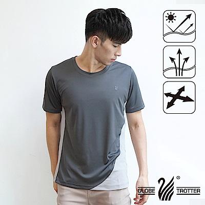 【遊遍天下】台灣製中性款配色圓領吸濕排汗機能衫S0708深灰