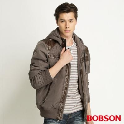 BOBSON-男款連帽鋪棉外套-咖