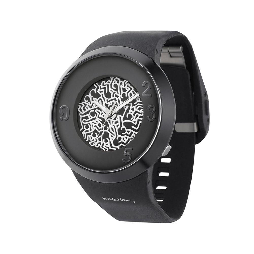 o.d.m. Keith Haring 聯名設計擁擠小人潮流腕錶-黑/50mm