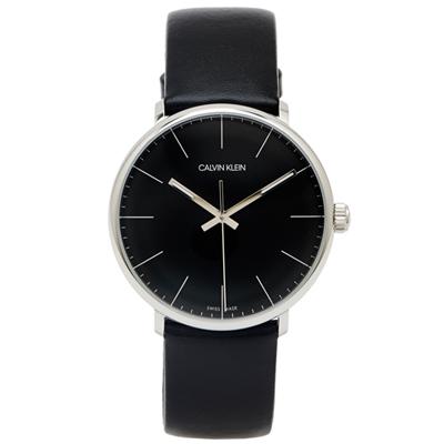 CK Calvin Klein high noon復古風皮革手錶-黑面/40mm