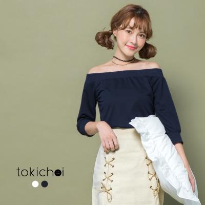 東京著衣 寬版羅紋領口一字領上衣-S.M(共二色)
