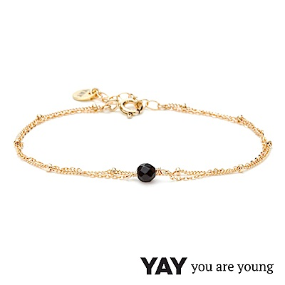 YAY You Are Young 法國品牌 Stella 黑曜石手鍊 金色