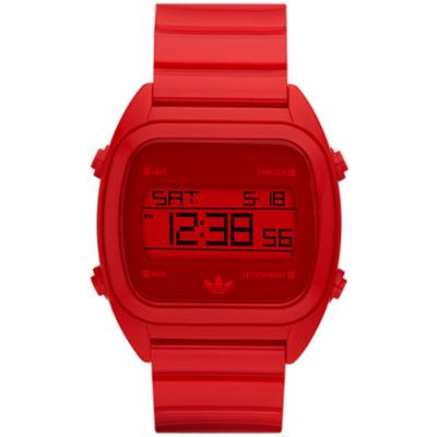 adidas 線條創造三葉數位腕錶-紅38mm