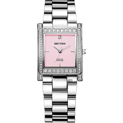 RHYTHM日本麗聲 古典方型晶鑽女錶-粉紅x銀/23mm L1204S02