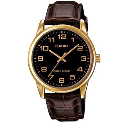 CASIO 經典復古時尚簡約指針紳士腕錶(MTP-V001GL-1B)黑面X金框/40mm