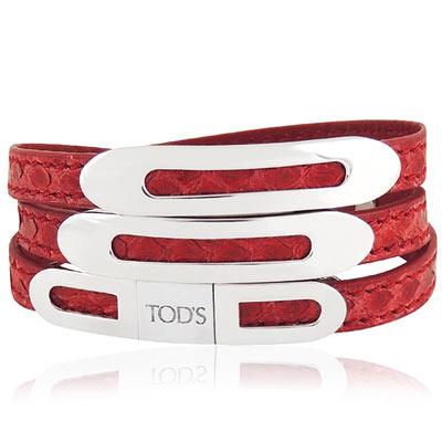 TODS 鱷魚紋真皮三環釦手環-M/L號(紅色)