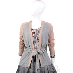 i BLUES 灰/粉色拼接綁帶外套