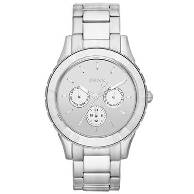 DKNY 都會女郎三眼時尚腕錶-鏡面銀/40mm