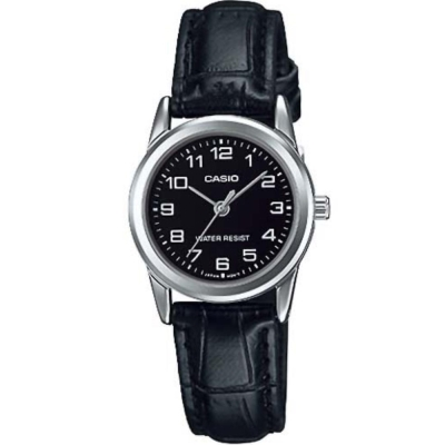 CASIO 經典復古時尚簡約巧小指針皮帶腕錶-黑面X黑(LTP-V001L-1)/25mm