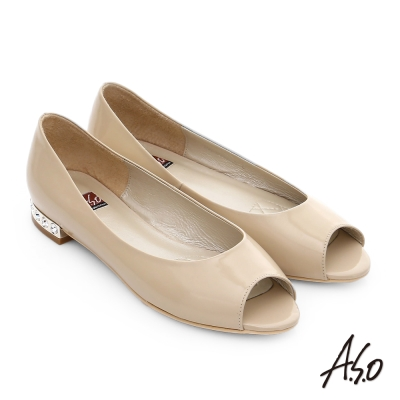 A.S.O 軟芯系列 鏡面牛皮貼鑽魚口鞋 卡其色