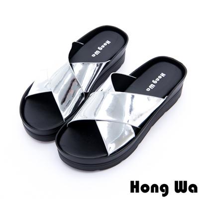 Hong Wa-甜美閃亮鏡面交叉風拖鞋-銀