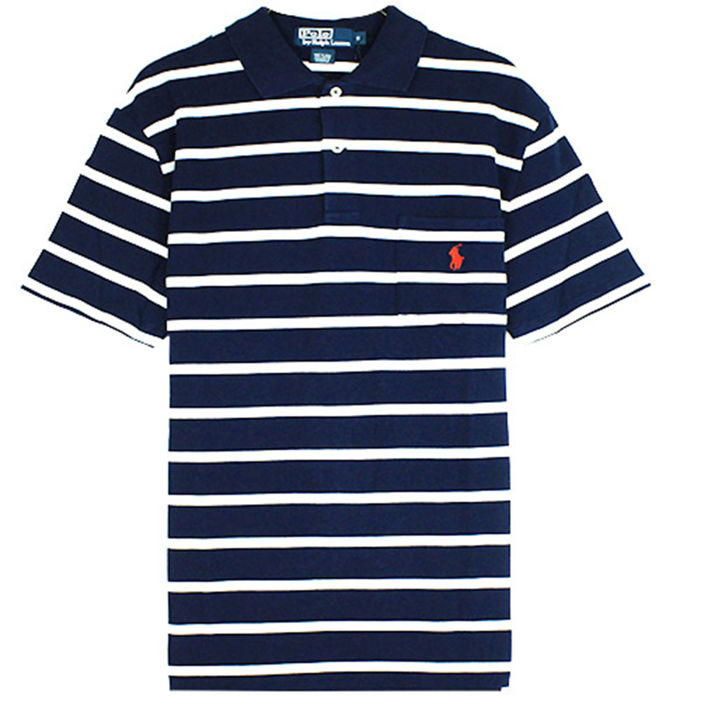 Ralph Lauren 小馬口袋條紋POLO衫(藍白)