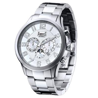 ARBUTUS-愛彼特自信風範三眼機械手錶-銀-4