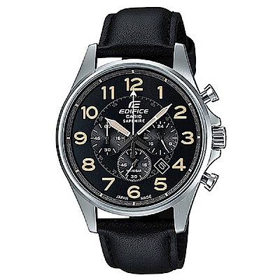 EDIFICE 經典設計數字款真皮腕錶- (EFB-508JL-1A)/42.1mm