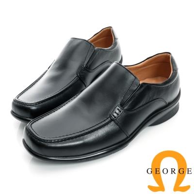 GEORGE-兩側切口免綁帶厚底真皮方頭鞋-黑色