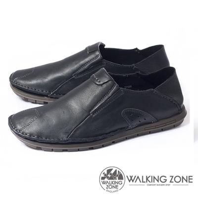 WALKING ZONE 英倫真皮自然風格開車鞋 男鞋-黑(另有咖、棕)
