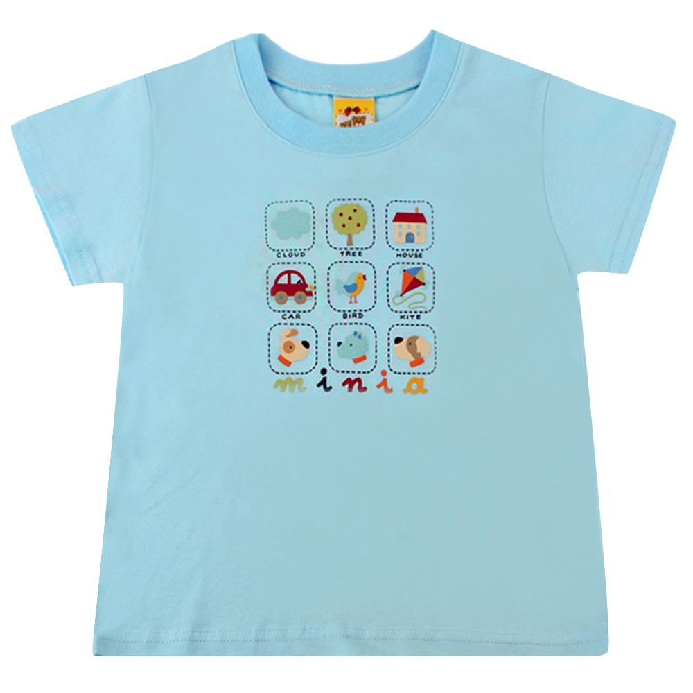 愛的世界 MYBABY 純棉圓領小狗郊遊趣短袖T恤-藍/2~4歲