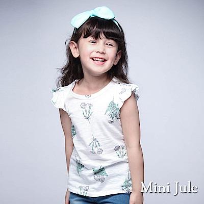 Mini Jule 童裝-上衣 插畫白花竹節棉無袖上衣(白)