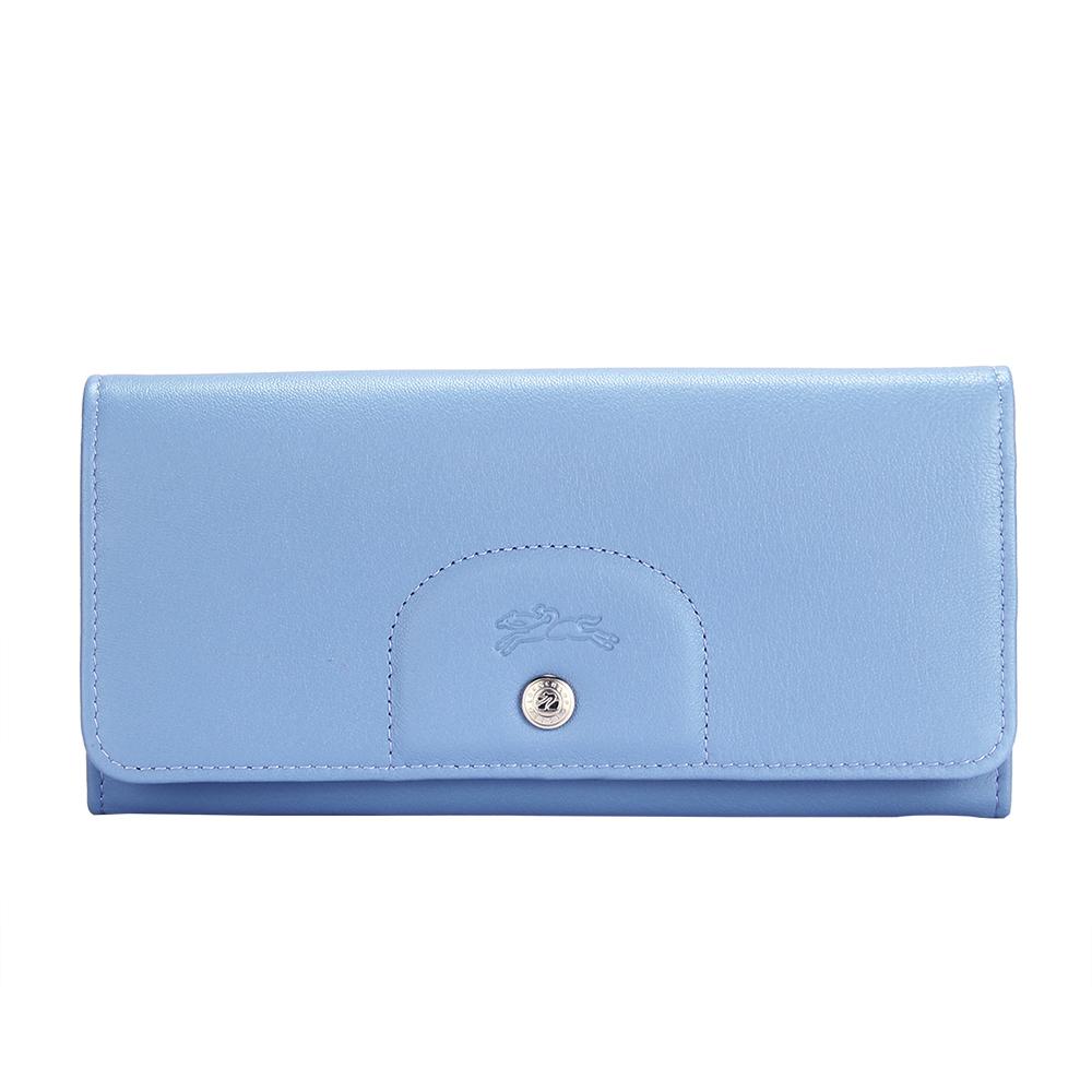Longchamp Le Pliage Cuir 經典全皮革壓釦長夾-薄霧藍LONGCHAMP
