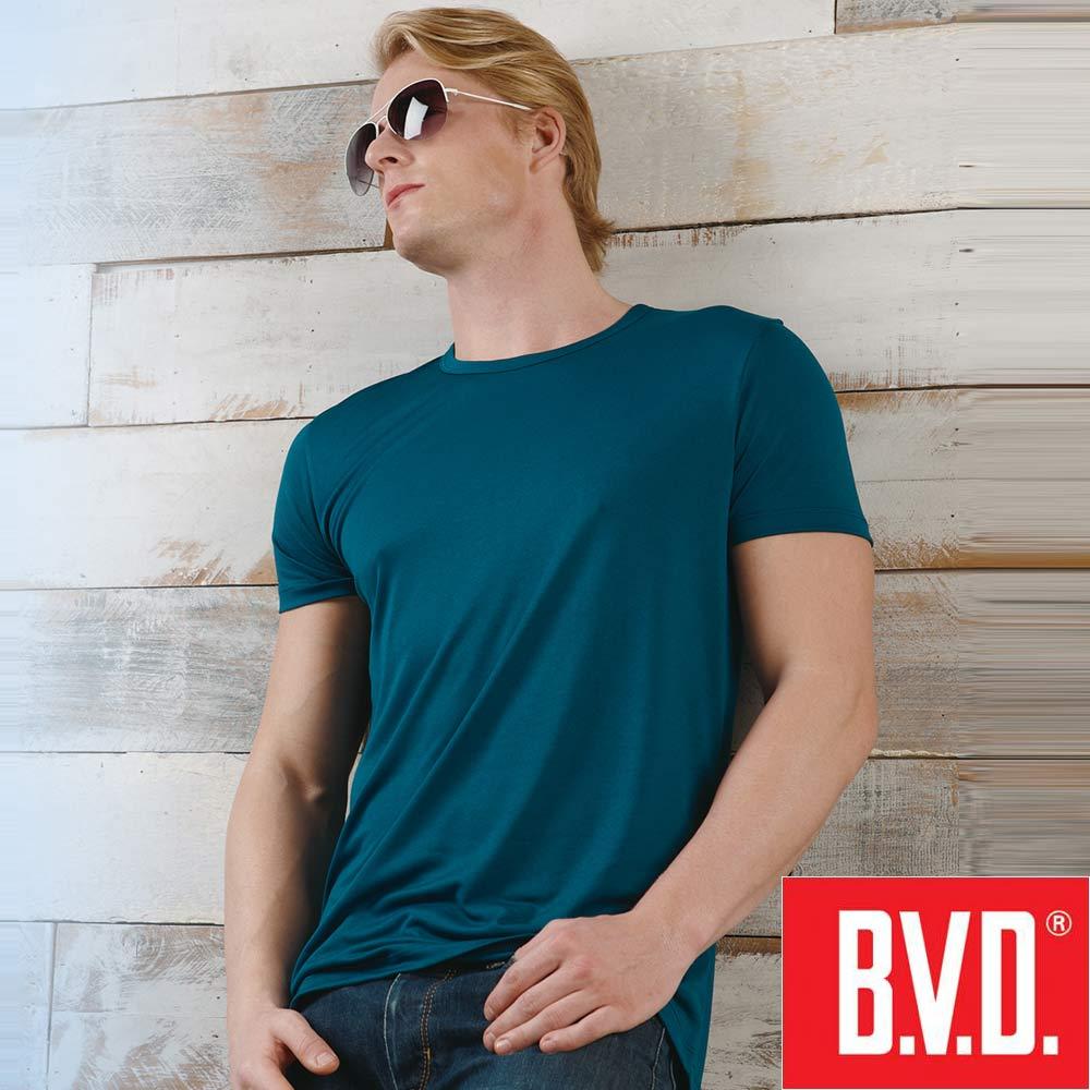 BVD 沁涼舒適酷涼 圓領短袖衫(土耳其藍2入組)-台灣製造