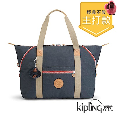 Kipling 手提包 復古藍撞色-大